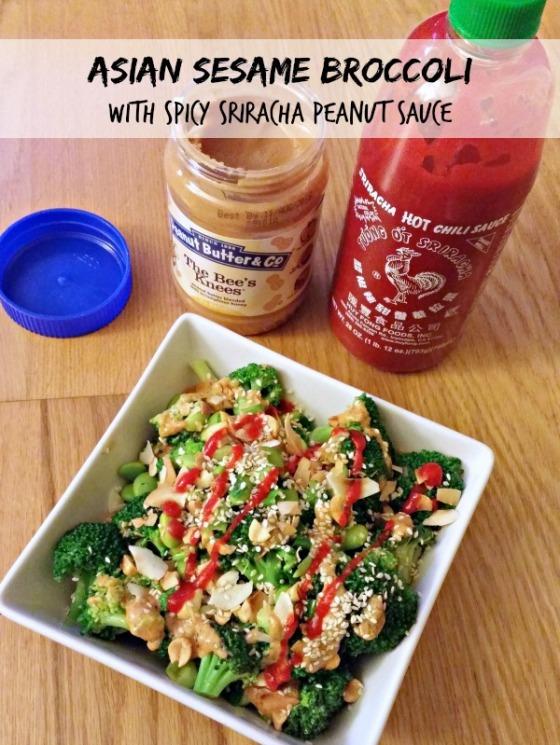 Asian Sesame Broccoli with Spicy Sriracha Peanut Sauce | Barr & Table