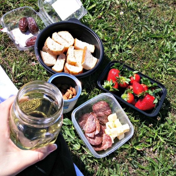 Boccalone Salami Cabot Cheddar Cheese Strawberries La Farine Medjool Dates Charles Shaw Chardonnay Blue Diamond Almonds