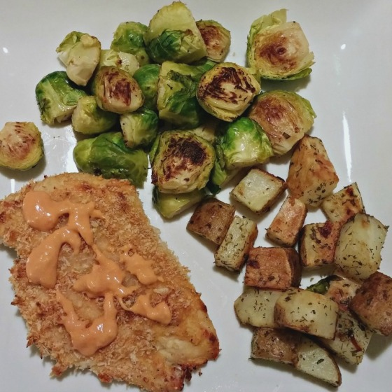 Crunchy Buffalo Chicken Roasted Ranch Potatoes Brussels Sprouts