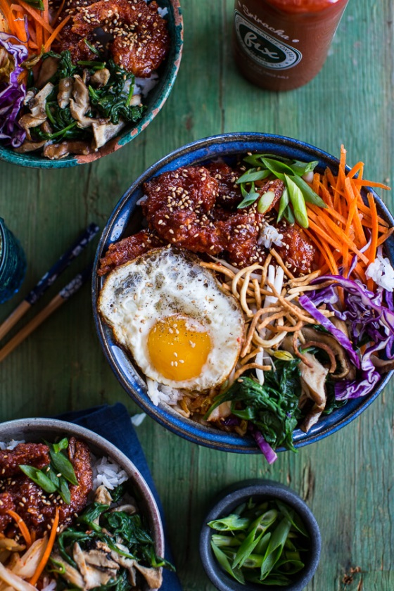 Korean Style Fried Shrimp Rice Bowls with Kimchi + Crunchy Noodles Half Baked Harvest
